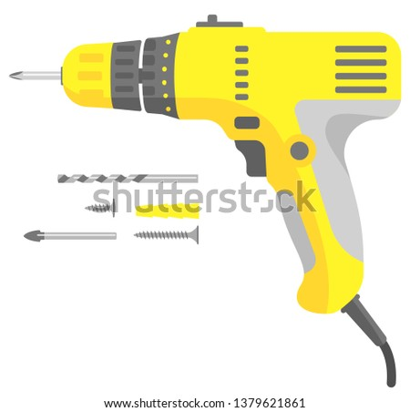 Isolated vector image. Screwdriver (drill) electric wire. Yellow and gray. With a set of drill bits, screws, bits, screwdrivers. Flat design