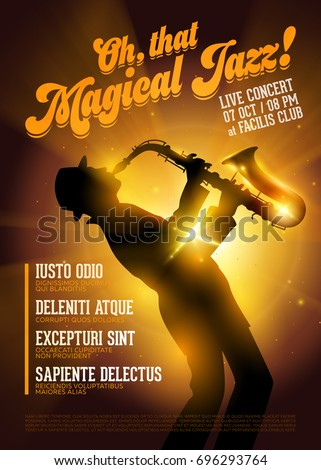 Isolated Vector Jazz Poster. Silhouette of Saxophone Player against a Stage Gold Light. Music Poster Template for Festival, Flyer, Ticket, Concert, Night Club.
