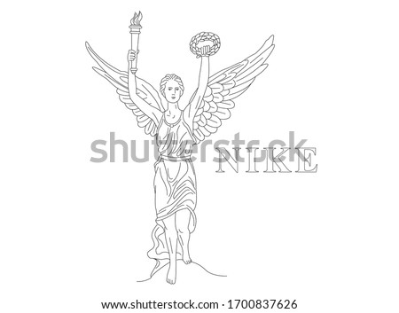 Isolated vector line illustration of antique goddess with angel wings. Nike or Hebe holding torch with fire and wreath
