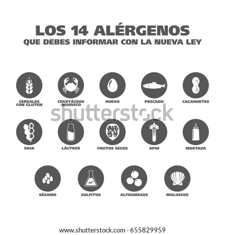 Isolated Vector Logo Set Badge Ingredient Warning Label. Black and white Allergens icons. Food Intolerance. 'The 14 allergens you should report with the new law' written in Spanish Foto stock ©