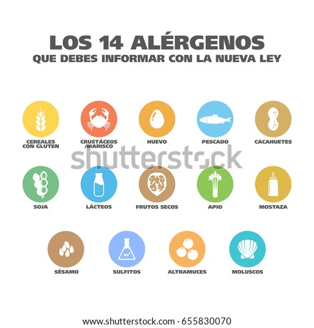 Isolated Vector Logo Set Badge Ingredient Warning Label. Colorful Allergens icons. Food Intolerance. 'The 14 allergens you should report with the new law' written in Spanish Foto stock ©