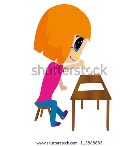 Isolated vector of girl writing / studying