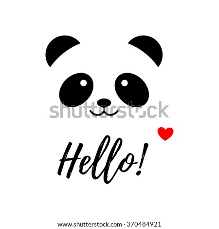 Isolated vector panda logo. Animal illustration. Hello icon. Smiling bear image. White background. Greeting card for St. Valentines Day. Love. Romantic illustration.
