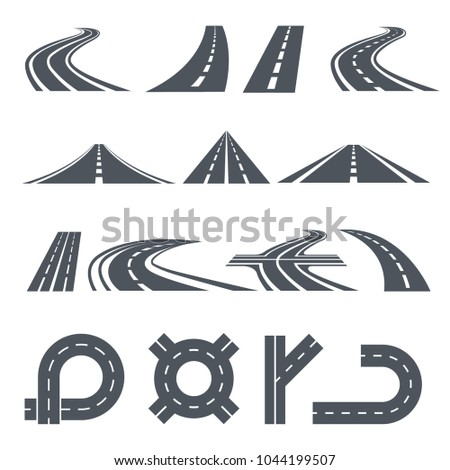 Isolated vector pictures of pathway, different roads and long highway. Illustration of road pathway, curve path asphalt of set