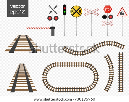 Isolated vector rails set with railroad signs. Railways on transparent background.