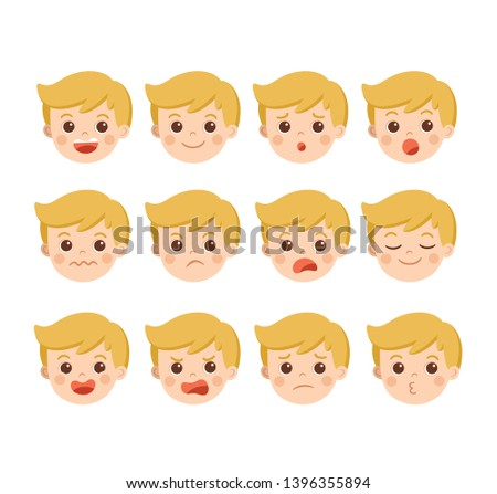 Isolated vector. Set of Adorable Boy facial emotions. Boy face with different expressions. Schoolboy portrait avatars. Variety of emotions teen guy.