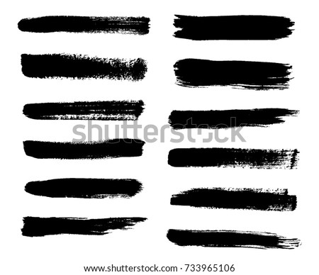 Isolated vector set of Brush Strokes, Lines, Grunge paint stains.