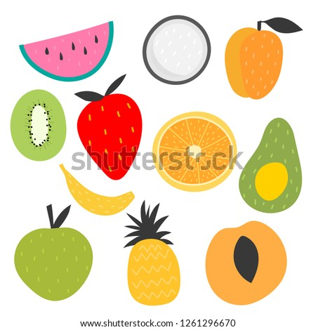 Isolated vector set of decorative fruits for print, decor. Kids illustration. #1261296670