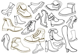 Isolated vector set of women's and man's winter, autumn and demi-season shoes: ankle boots, low shoes, boots, semi-boots, sports shoes. Drawn by hand. Shoes collection. Youth.