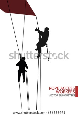Isolated vector silhouettes of rope access workers climb on the industrial object with rope access technique