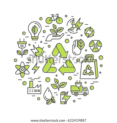 Isolated Vector Style Illustration Logo Set Badge Recycling Ecological Concept. One Page Web Site Template Banner, Infographic Poster