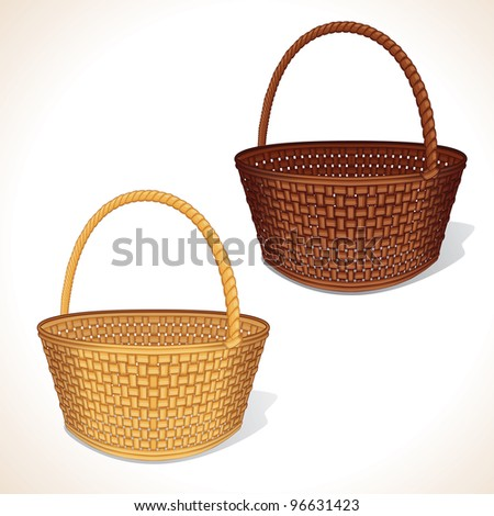 Isolated Vector Woven Basket