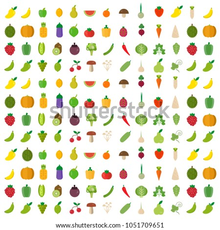 Isolated vegetables fruits background. vector illustration