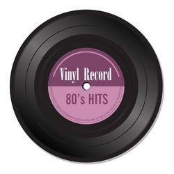 Isolated vinyl record with the text eighties hits written with purple letters