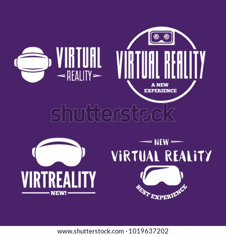Isolated vr headset logotype set. Virtual reality helmet logo. Head-mounted display icon collection. Logo device.