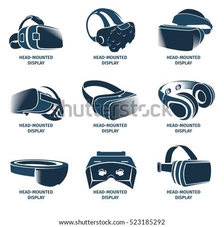 Isolated vr headset logotype set. Virtual reality helmet logo. Head-mounted display icon collection. Logo device. Futuristic gaming element. Simulation smartglasses vector illustration vr.