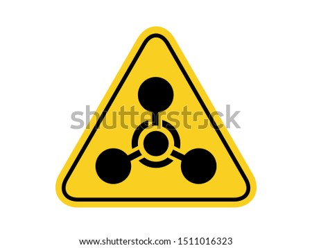 isolated warning chemical weapon hazards symbols on yellow round triangle board warning sign for icon, label, logo or package industry etc. flat style vector design.