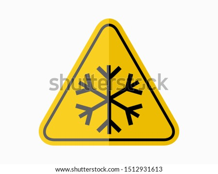isolated warning frost hazards symbols on yellow round triangle board warning sign for icon, label, logo or transportation etc. flat paperwork  style vector design.