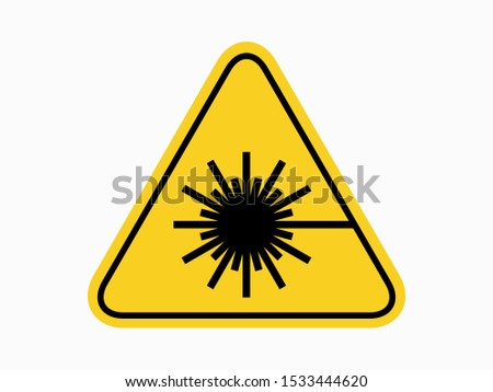 isolated warning laser material  hazards symbols on yellow round triangle board warning sign for icon, label, logo or package industry etc. flat  style vector design.
