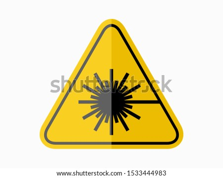 isolated warning laser material  hazards symbols on yellow round triangle board warning sign for icon, label, logo or package industry etc. flat  paperwork style vector design.