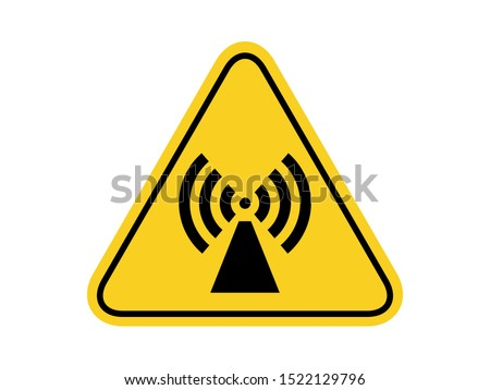 isolated warning radio frequency hazards symbols on yellow round triangle board warning sign for icon, label, logo or package industry etc. flat  style vector design.