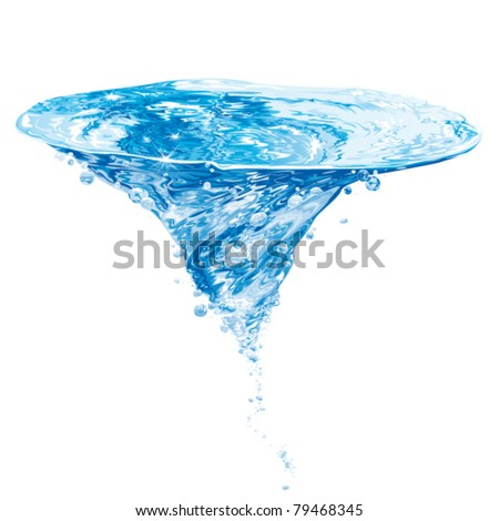 isolated water vortex on white background, whirlpool, vector realistic illustration