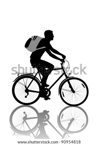 isolated wheelman with backpack silhouette