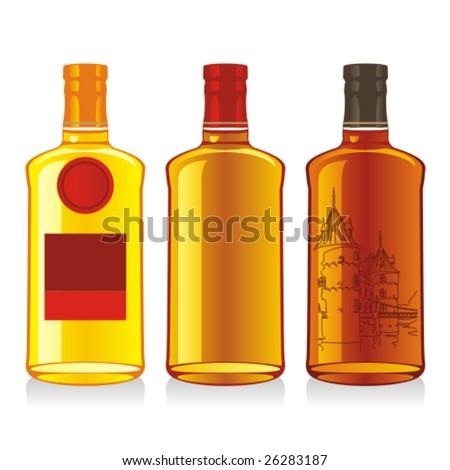 isolated whiskey bottles