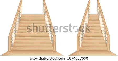 Isolated wide and narrow wooden stairs Photo stock ©