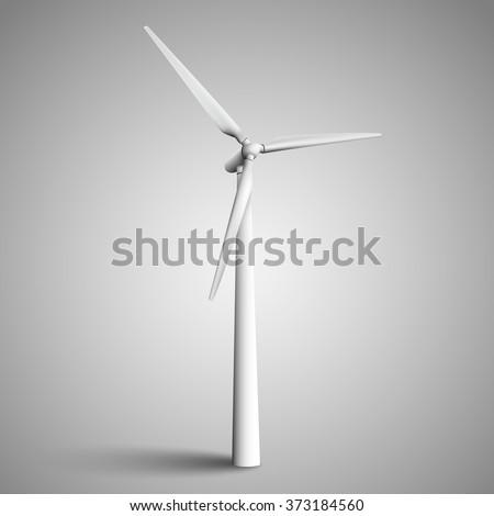 Isolated wind turbine, vector illustration.