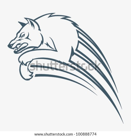 Isolated wolf jump illustration - vector illustration