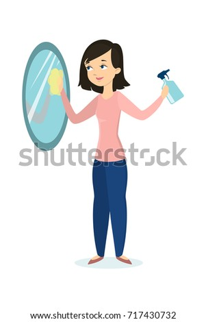 isolated woman cleaning mirror