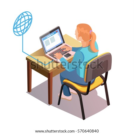 Isolated woman surf in the Internet. Isometric vector composition.