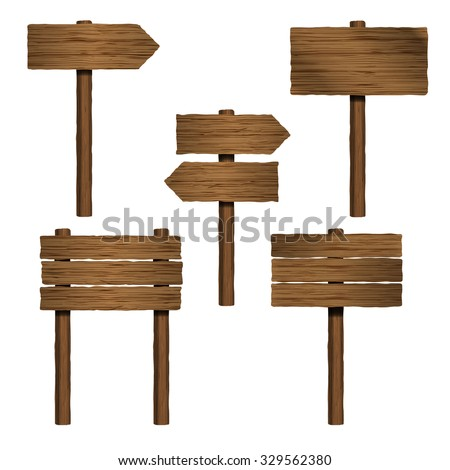 isolated wooden sign boards and