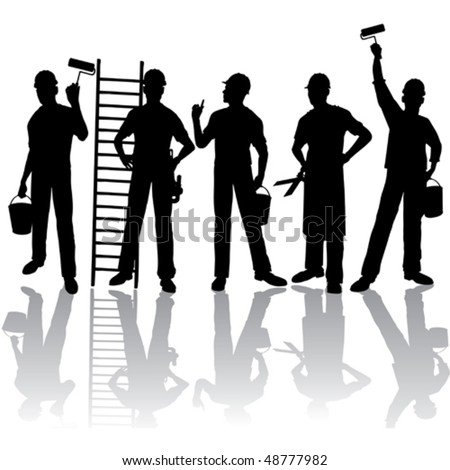 Isolated workers vector silhouettes with tools