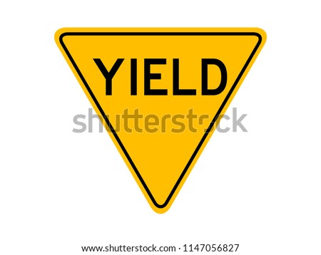 isolated yield sign with the text