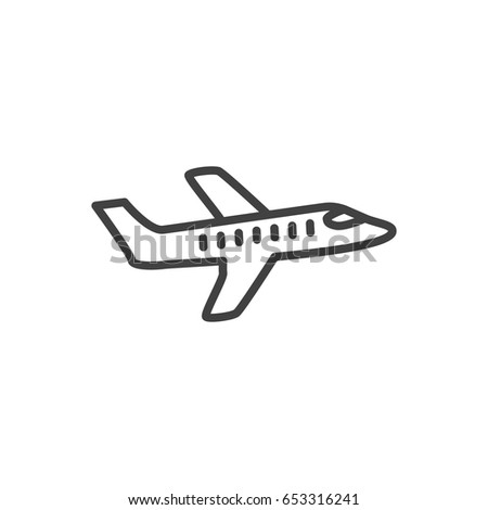Isolted Aicraft Outline Symbol On Clean Background. Vector Plane Element In Trendy Style.