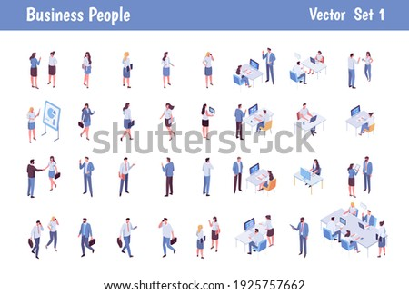 Isomeric business people big vector set. Business men and women. Teamwork, cooperation, coworking. Workspace. Vector characters isolated on white background.