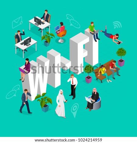 Isomeric Wi-Fi concept. Web site, Computer, Online, Network, Technology, Internet marketing, Social media. Vector illustration