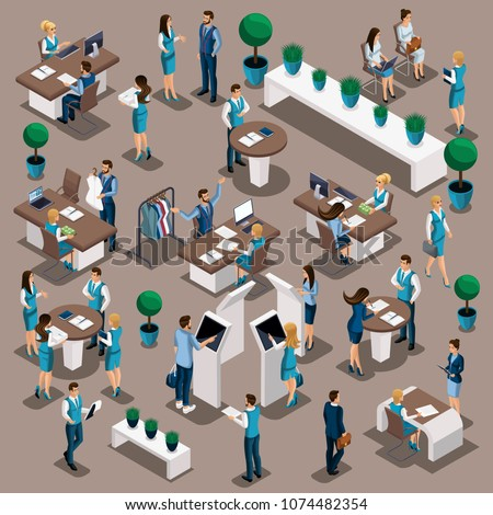 Isometric a set of bank managers in work in the bank's office, issuance of loans, deposits, customer service, physical and legal persons.