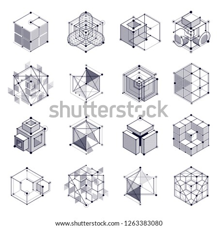 Isometric abstract black and white backgrounds set with linear dimensional cube shapes, vector 3d mesh elements. Layout of cubes, hexagons, squares, rectangles and different abstract elements.