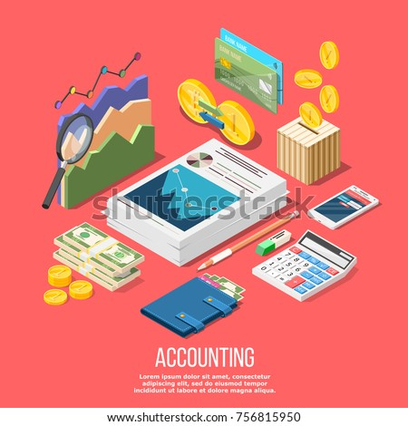 Isometric accounting composition with isolated images of accountant workspace elements money coins and financial stock graphs vector illustration - Shutterstock ID 756815950