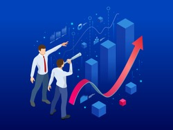 Isometric affiliate business, business perspective concept. Businessman looking to the future for new business opportunity. Analysis and Strategy on a conceptual application for promotion contacts.
