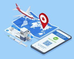 Isometric Air travel world globe airline tickets. Mobile phone with immune digital health passport for covid-19. COVID-19 Immunity Passport, immunity certificate, vaccination. Air travel concept