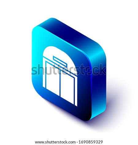 Isometric Aircraft hangar icon isolated on white background. Blue square button. Vector Illustration