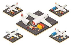 Isometric aircraft logistics concept with workers cargo and different variants of plane loading isolated vector illustration