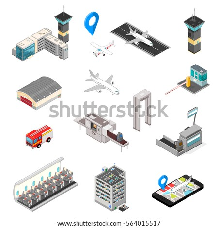 Isometric Airport Travel and transport Icons. A vector illustration of an Airport Map Icon with pointer.