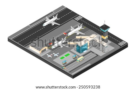 Isometric Airport with plans terminal and public transport. Isometric Airport building. Airport building with runway.