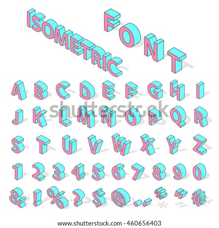 Isometric alphabet typography text and isometric alphabet perspective letter art