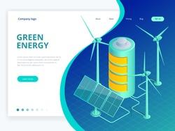 Isometric alternative eco green ecology, sustainable, environmental concept. Green world awareness vector illustration